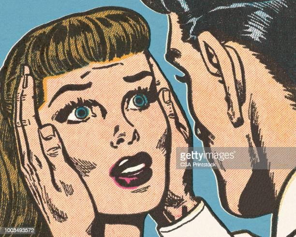 男の持株の女性の頭部 - 驚き点のイラスト素材/クリップアート素材/マンガ素材/アイコン素材