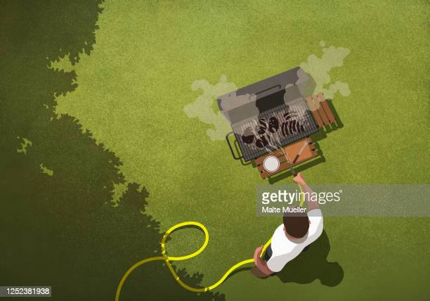 man hosing off burnt food on backyard barbecue grill - day stock illustrations