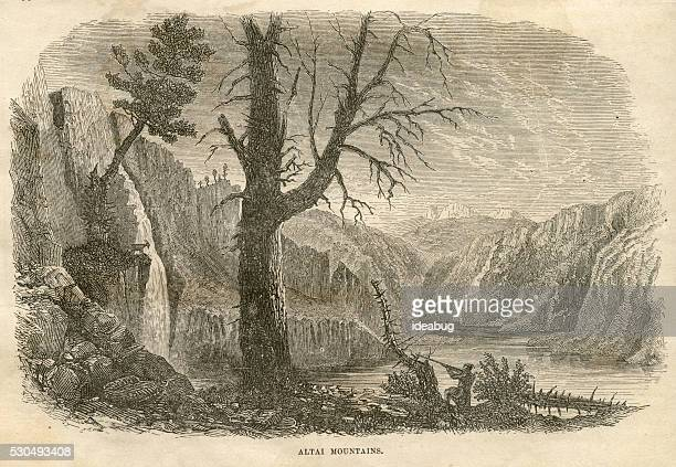 Man Hunting in Altai Mountains of Asia, Antique 1871 Illustration
