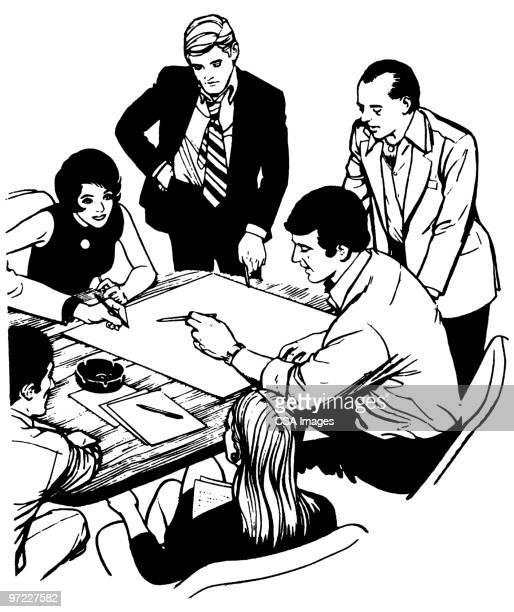 man - meeting stock illustrations