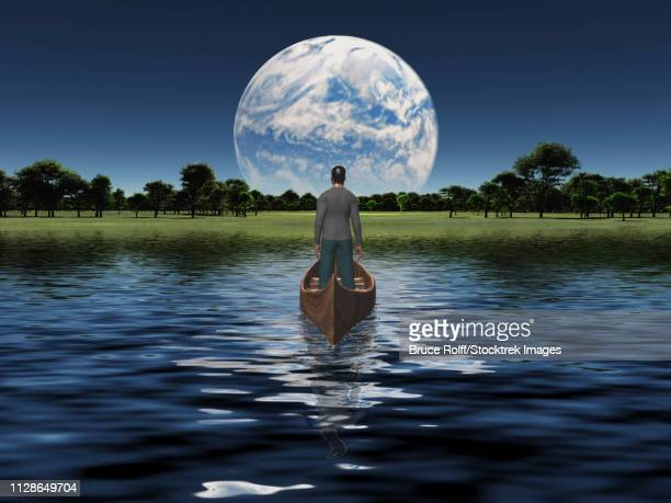 Man in a boat floats toward green horizon. Planet rise over horizon.