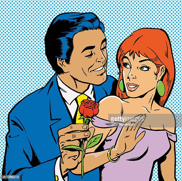 man in a suit giving a young woman a red rose - adulation stock illustrations, clip art, cartoons, & icons