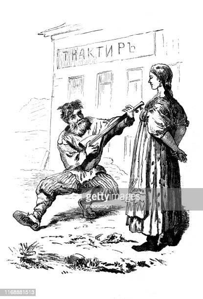 ilustrações, clipart, desenhos animados e ícones de o homem em um traje tradicional do país joga o balalaika para uma mulher bonita - 1887