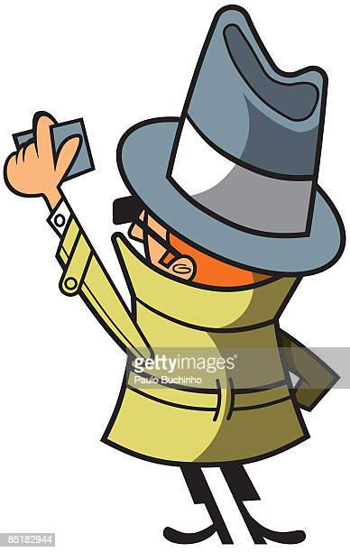 ilustrações de stock, clip art, desenhos animados e ícones de a man in a trench coat, hat and sunglasses holding an id card - buchinho