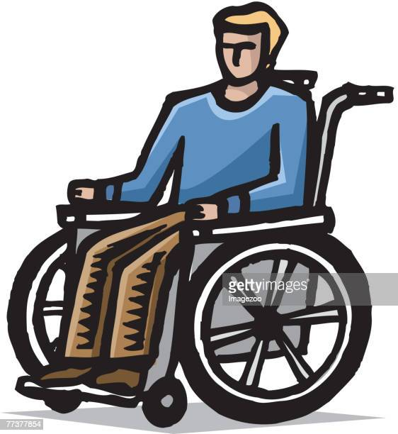 man in a wheelchair - paralysis stock illustrations, clip art, cartoons, & icons