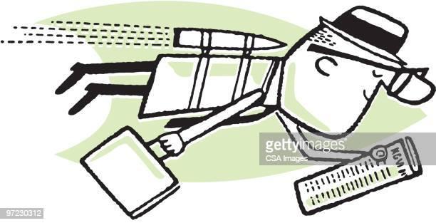 illustrazioni stock, clip art, cartoni animati e icone di tendenza di man in air - missile razzo spaziale
