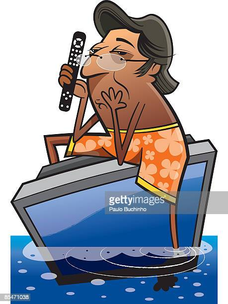 a man in beach shorts floating in the ocean on a tv with a remote control - 水の無駄遣い点のイラスト素材/クリップアート素材/マンガ素材/アイコン素材