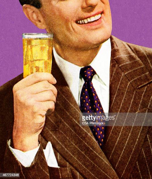 man in brown suit holding drink - scotch whiskey stock illustrations, clip art, cartoons, & icons