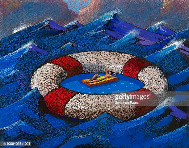 illustrations, cliparts, dessins animés et icônes de man in calm water inside lifesaver on stormy sea - matelas pneumatique