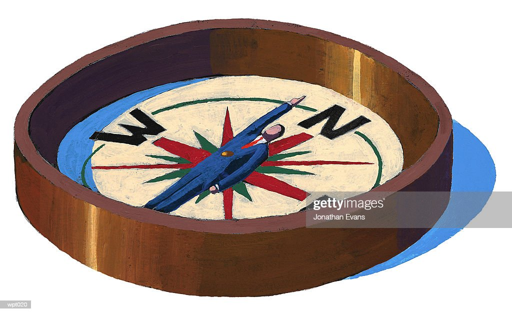 Man in Compass : Stock Illustration