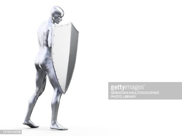 man in defensive pose, illustration - safety stock illustrations
