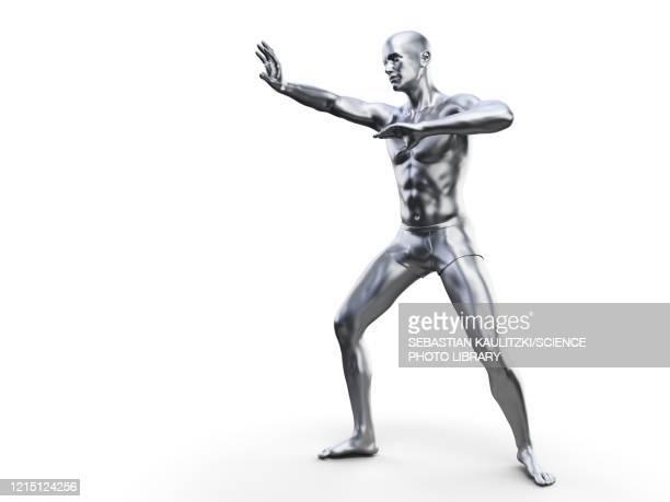 man in defensive pose, illustration - autoimmunity stock illustrations