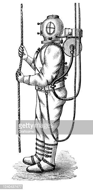 man in diving suit 1897 - diving sport stock illustrations