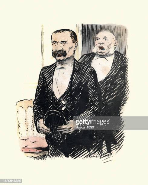 man in evening suit with bushy moustache, french caricature, victorian 1899, 19th century - 1890 1899 stock illustrations