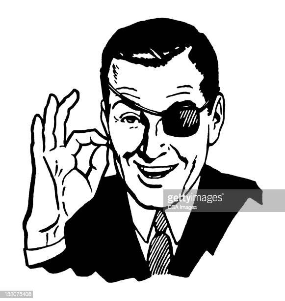 Man in Eye Patch Giving OK Sign