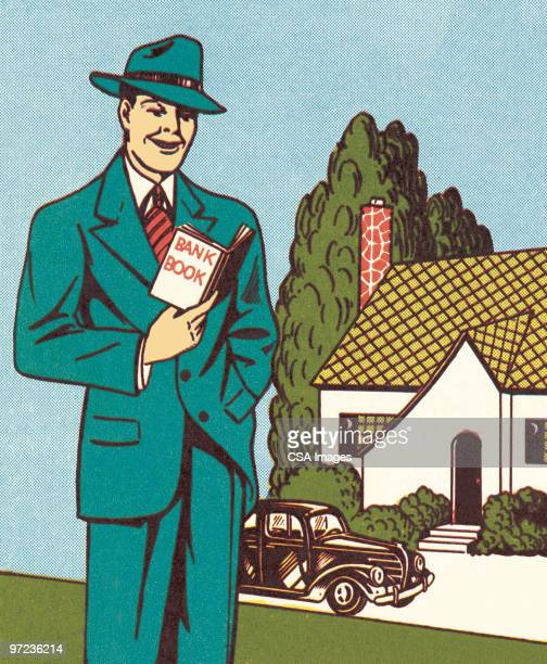 man in front of house - old fashioned stock illustrations