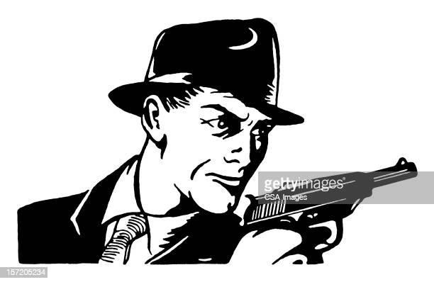 Man in Hat Holding Pistol
