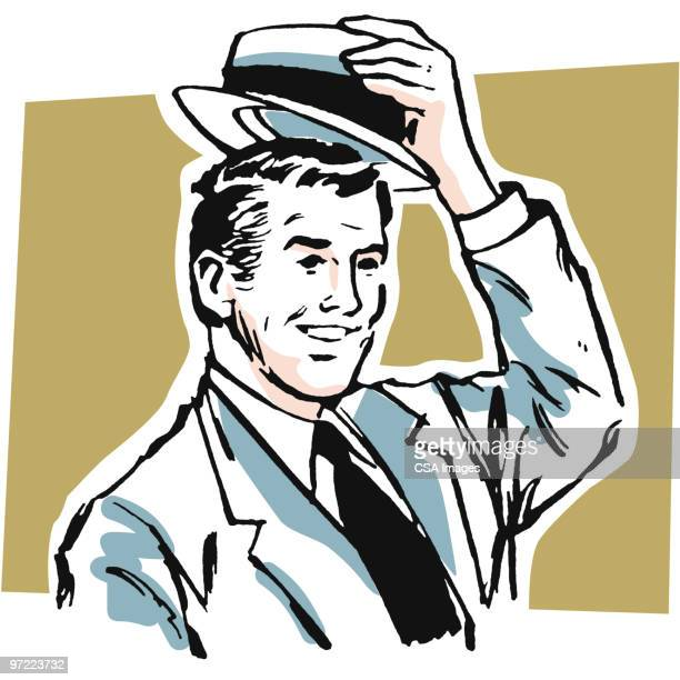 man in hat - one young man only stock illustrations
