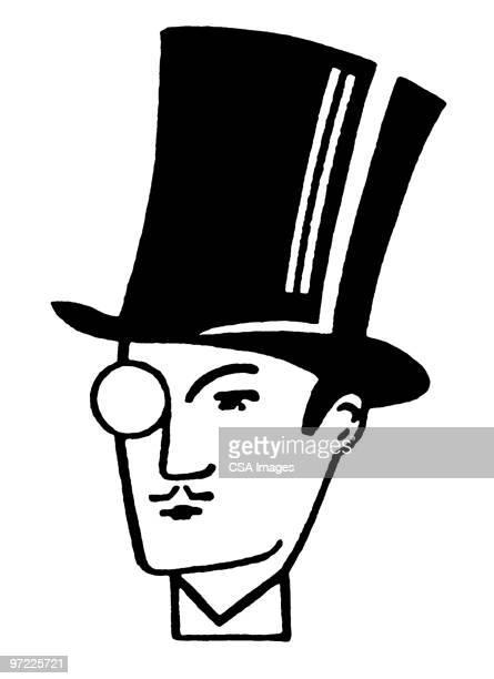 man in hat - シルクハット点のイラスト素材/クリップアート素材/マンガ素材/アイコン素材
