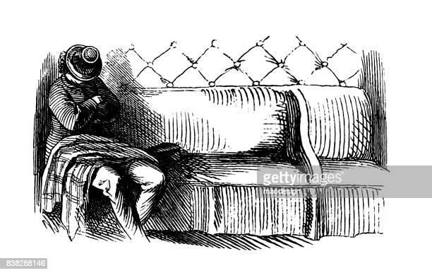 illustrations, cliparts, dessins animés et icônes de homme au chapeau dort sur le canapé -1867 - mou