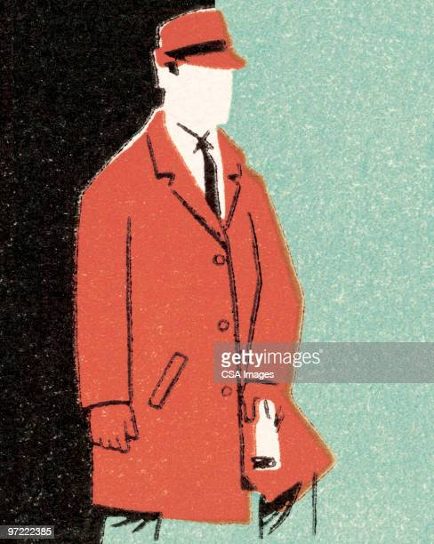 man in overcoat and hat - jacket stock illustrations