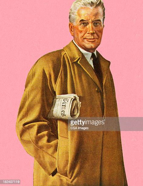 Man in Overcoat Holding Newspaper