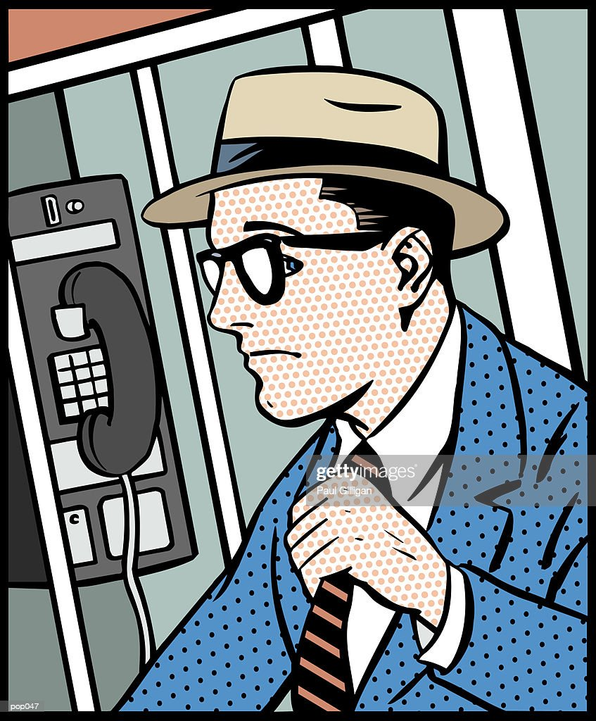 Man in Phone Booth : Stockillustraties