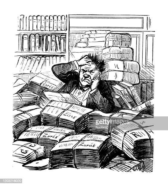 illustrations, cliparts, dessins animés et icônes de homme dans la maison d'édition ayant des problèmes - crouler sous le travail