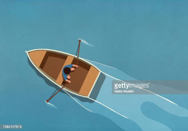 man in rowboat on water - transportation stock illustrations