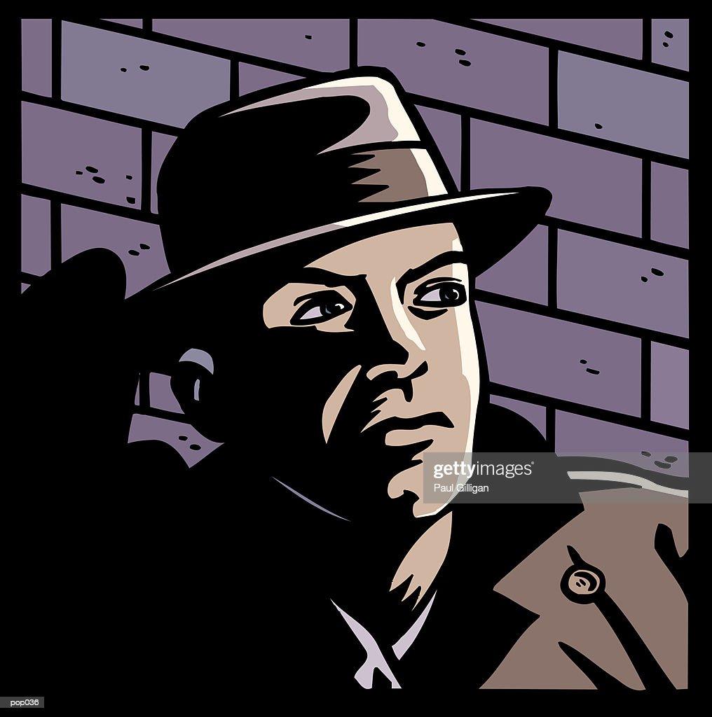 Man in Shadows : Stockillustraties
