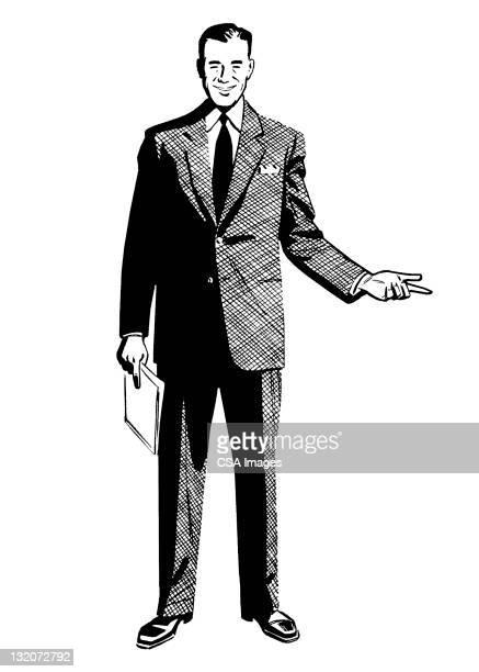 ilustraciones, imágenes clip art, dibujos animados e iconos de stock de hombre en traje gesticular - encuadre de cuerpo entero