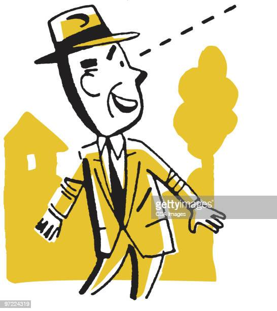 man in suit looking up - staring stock illustrations