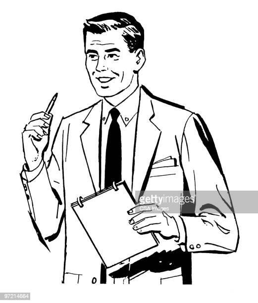 man in suit speaking - report stock illustrations