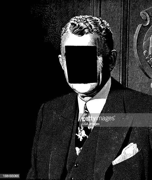 Man in Suit with blocked Face