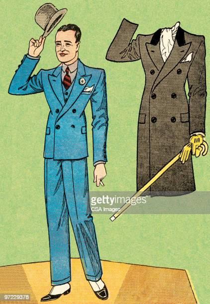 男性にスーツ、オーバーコート - 紙人形点のイラスト素材/クリップアート素材/マンガ素材/アイコン素材