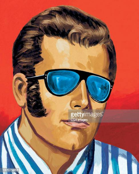 man in sunglasses - sideburn stock illustrations