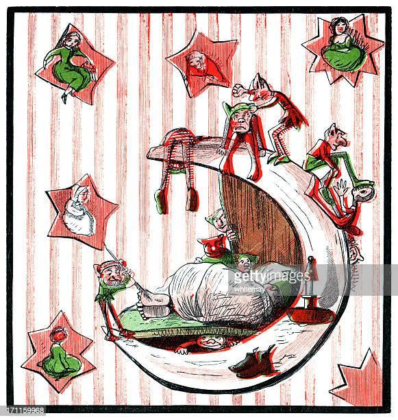 man in the moon asleep (victorian cartoon) - man in the moon stock illustrations, clip art, cartoons, & icons