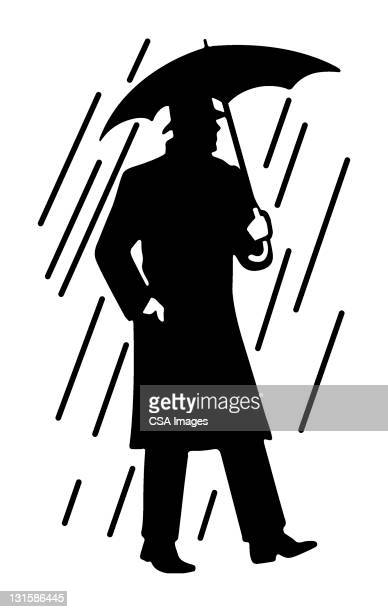 man in the rain - rain stock illustrations