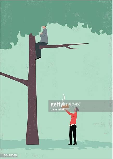 ilustraciones, imágenes clip art, dibujos animados e iconos de stock de hombre en árbol - pollo asado