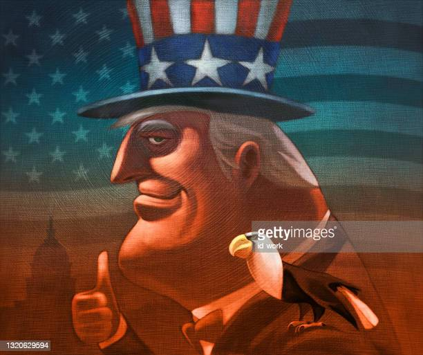 man in uncle sam costume gesturing thumbs up with bald eagle - us president stock illustrations