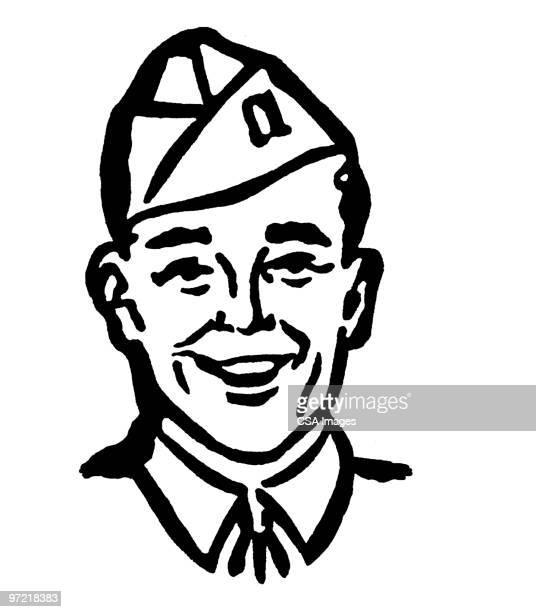 man in uniform - war stock illustrations