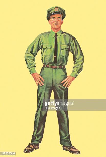man in uniform with hands on hips - uniform stock illustrations