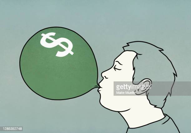 man inflating dollar sign balloon - opportunity stock illustrations