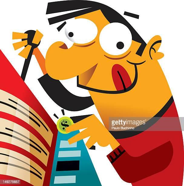 ilustrações de stock, clip art, desenhos animados e ícones de a man inserting a coin into a slot machine - buchinho
