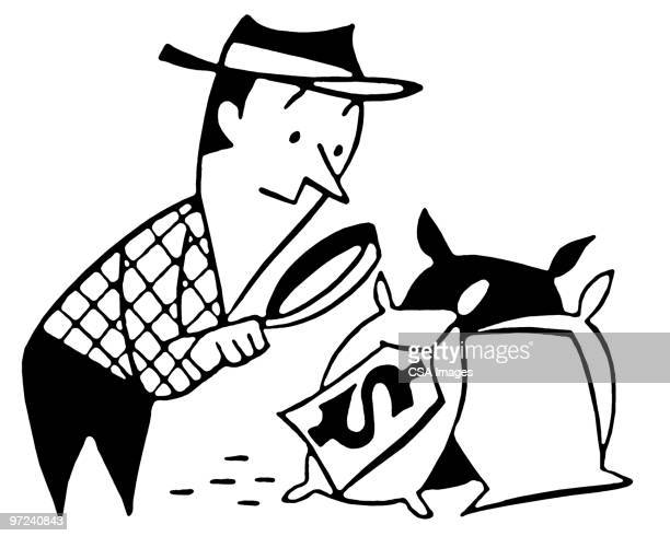 man inspecting bags of money - privateinvestigator stock illustrations