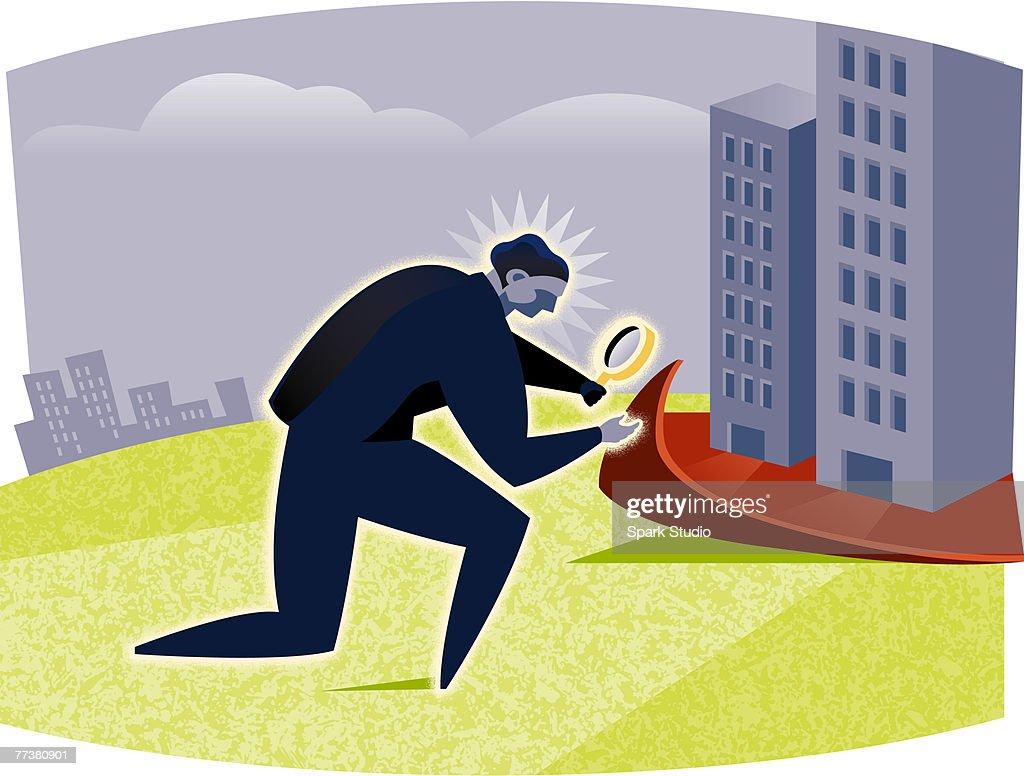 A man inspecting carpet : Illustration
