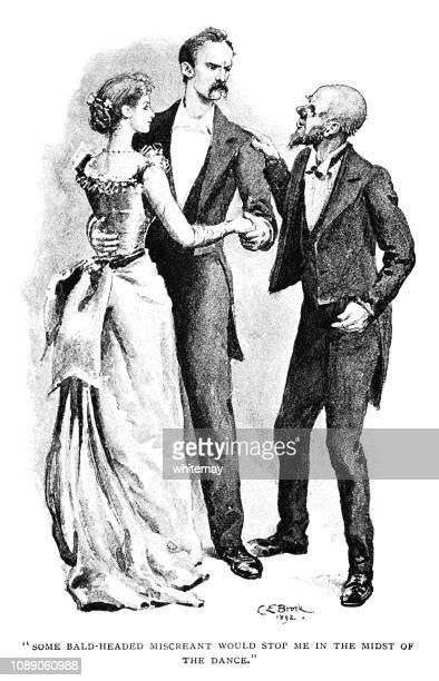 ilustraciones, imágenes clip art, dibujos animados e iconos de stock de hombre interrumpe una pareja bailando - bailar un vals