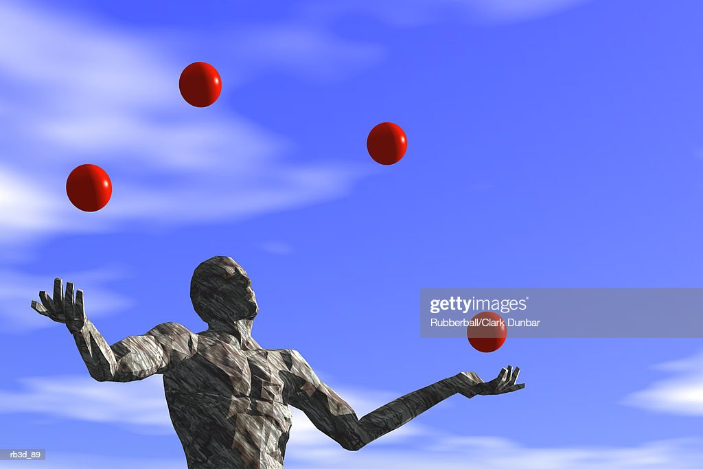 man juggles four red balls against blue sky : Stockillustraties