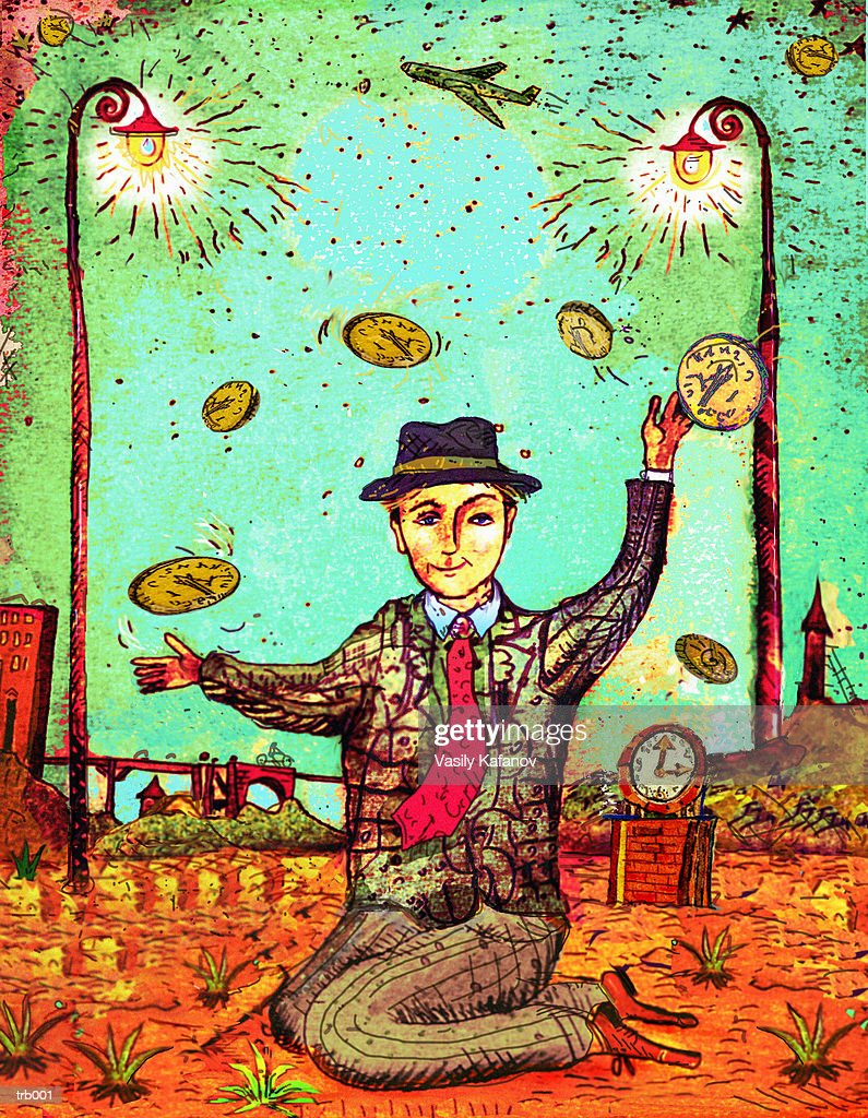 Man Juggling Coins : Stock Illustration