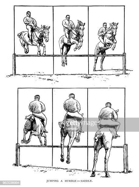 man jumping a hurdle on a horse - horseback riding stock illustrations, clip art, cartoons, & icons